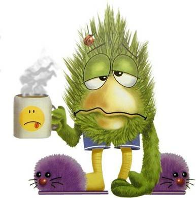 Funny faced monster with coffee cup in house slippers [CC]