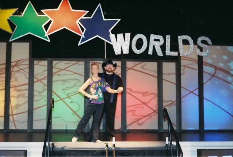 Worlds 2013 - On stage in our West Coast Swing Costumes