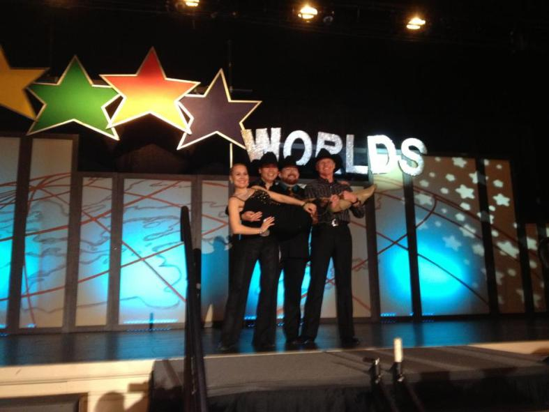Worlds 2013 - On Stage after the ProAm while waiting for awards with all my mates and our coach