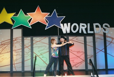 2013.01 Worlds - On stage after couples competition - in our West Coast costumes