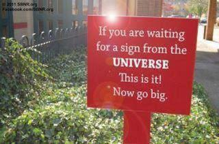 Sign from the universe -- http://www.sbnr.org/