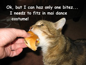 Ok, but I can haz only one bitez.  I needz to fitz in mai dance costume ©