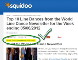 My Squidoo Lens on Top Ten Line Dances has shot up to Tier Two!