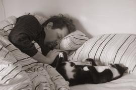 Sleepyheads - Cat and man asleep in bed (CC)