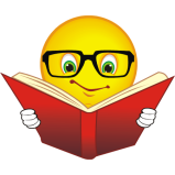 Smiley wearing glasses reading a book