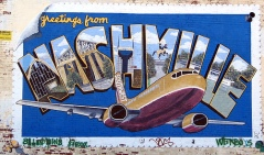 Southwest Airlines Painted Postcard on wall in Nashville TN