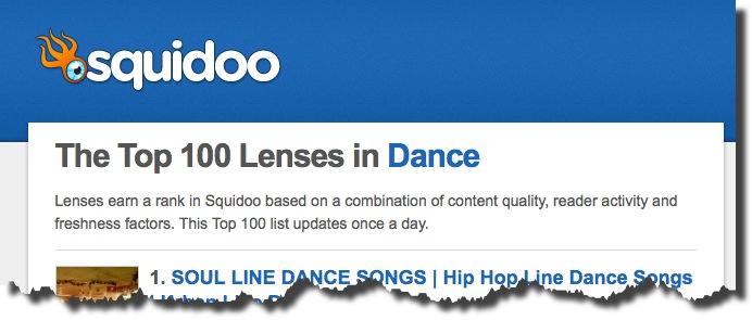 Fifteen of my Squidoo Articles are in the Top 100 Dance Lenses! (3/6)