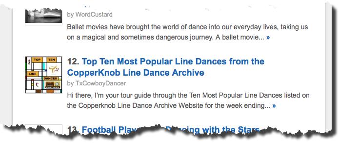 Fifteen of my Squidoo Articles are in the Top 100 Dance Lenses! (5/6)