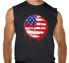 Sleeveless T-shirt with American Grunge Flag available at TxCowboyDancer Designs