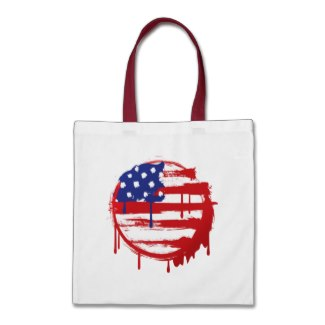 Grunge American Flag Tote Bag available at TxCowboyDancer Designs