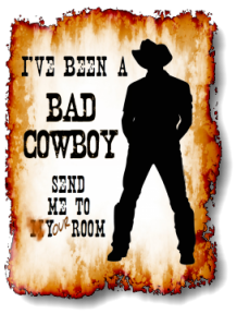 I've been a bad cowboy send me to your room c2013 TxCowboyDancer Designs.  This design is available as a t-shirt on Redbubble.com