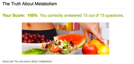 My score on the metabolism Quiz