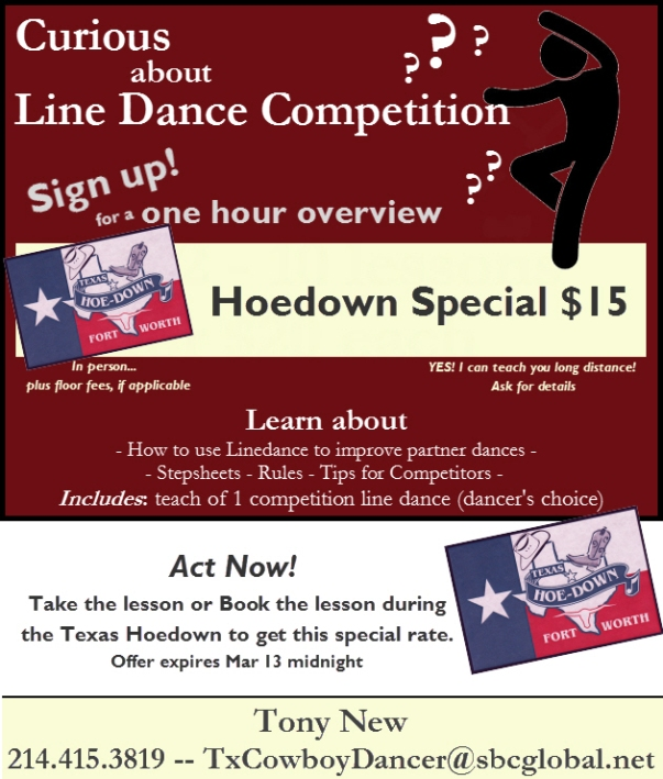 Texas Hoedown Special-intro to competition line dance offer