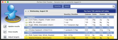 "Screen shoot of ""Perfect Diet Tracker"""